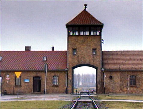The entrance to the Auschwitz concentration camp, where more than 1 million people were killed during World War II.  Tomorrow marks 64 years since its liberation, and Hans Mommsen's sheds light on the build up to the site of ultimate evil.