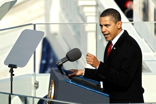 President Barack Obama delivers his inaugural address; a book by Neustadt and May could help him think about history's uses and perils.