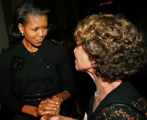 Then-future First and Facing History Board Member Michelle Obama at the Chicago office's 2007 fundraising dinner.  This year's dinner happens takes place tonight.