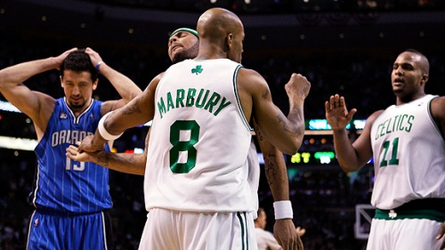 Stephon Marbury keyed a Boston Celtics' comeback last night that led to a stirring victory.