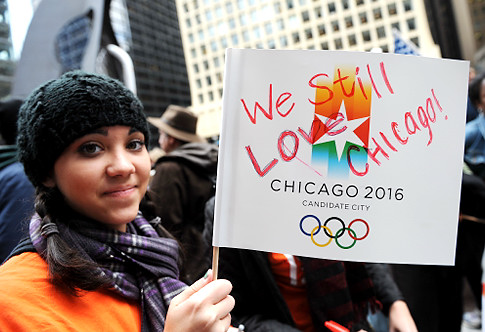 People react at the announcement that Chicago was the first city eliminated during a live viewing of Chicago 2016 Olympic bid at Daley Plaza in Chicago, Illinois on October 2, 2009. Odds-on favourites Chicago went out in the first round of voting to host the 2016 Olympics here on Friday, a stunning setback for a city which had been backed by US President Barack Obama.