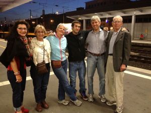 We arrive at train station in Essen, Germany in May 2012. From left, Gabriele Thimm, Lee Kass, Dunreith, Aidan, me and Ed Lowenstein. (Photo courtesy of Jon Lowenstein)