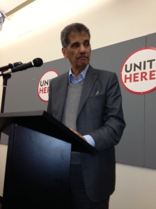 Tunisian labor leader Kemal  Saad speaks at the UNITEHERE office in Chicago on Friday, April 19.