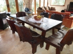 Alejandra and Alberto's vintage wooden table.