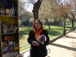 Senora Carmen at Santiago's Biblioplaza.