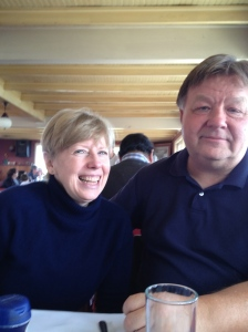 Lisa Cook and Jim Peters at La Candela hostel and restaurant in Isla Negra.