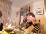 Sylvia Broder makes a point during a dinner she hosted at her apartment.