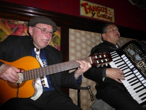 The cueca band at Bar Liguria play their tunes.