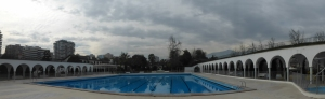 Swimming pool and a view of the Andes  at the Estadio Español.
