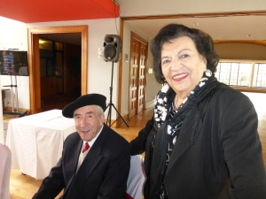 Hilda and Amador, who have been married for 68 years,  at the Estadio Español.