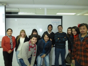 My Data Journalism class with Maca Rodriguez (far left) and Alvaro Graves (next to two female students and student in red and black jacket on the right)