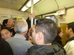 On the Metro in tight conditions.