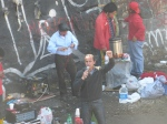 Striking postal workers near the Rio Mapocho.