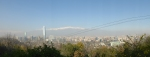 A panorama of Chile from near the top of Cerro San Cristobal. The cell phone tower is toward the left of the photo.
