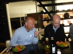Greg Gogolin, left, and Larry Geri share a light moment at lunch.