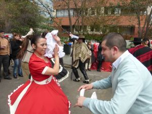 Dancing the cueca.