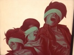 A picture of three men in blindfolds at the Salvador Allende Museum.