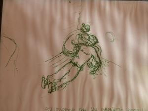 A sketch of a prisoner comforting another prisoner who has been tortured at Villa Grimaldi.