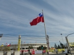 The Chilean flags near the National Stadium where the fondo of Nunoa began on Sept. 17.