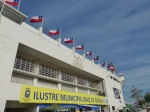 Flags fly at the National Stadium.