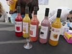 Organic pisco for sales in many flavors at the Providencia fonda at Parque Ines de Suarez.