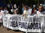 Mothers from Linea Fundadora march at the Plaza de Mayo.