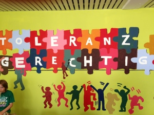 A mural endorsing Tolerance and Justice at the Realschule Ueberruhr in Essen, Germany.