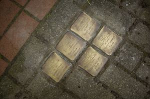 Stumble Stones of Lowenstein family members outside of Joseph Lowenstein's home in Essen, Germany. (Jon Lowenstein photo)