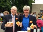 Enjoying a brat with Dad before the ceremony at Realschule Uberruhr.