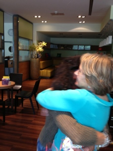 Gabriele and Lee embrace at the Ibis Hotel in Essen, Germany.