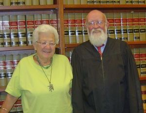 Addy Reisler Yanow, left, pictured with Judge James Moran, gave to family and friends throughout her 93 years of life.  Photo courtesy of Jennifer Moran.
