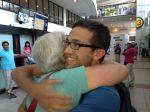 Mother and son reunite in Chile after five months on different continents.
