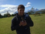 With a new friend in Torres del Paine National Park, Chile.